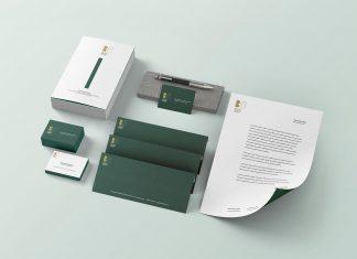 Free Logo Branding Stationery with Brochure Mockup PSD
