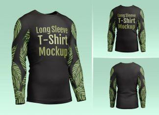 Free Men's Long Sleeve T-Shirt Mockup PSD Set (1)