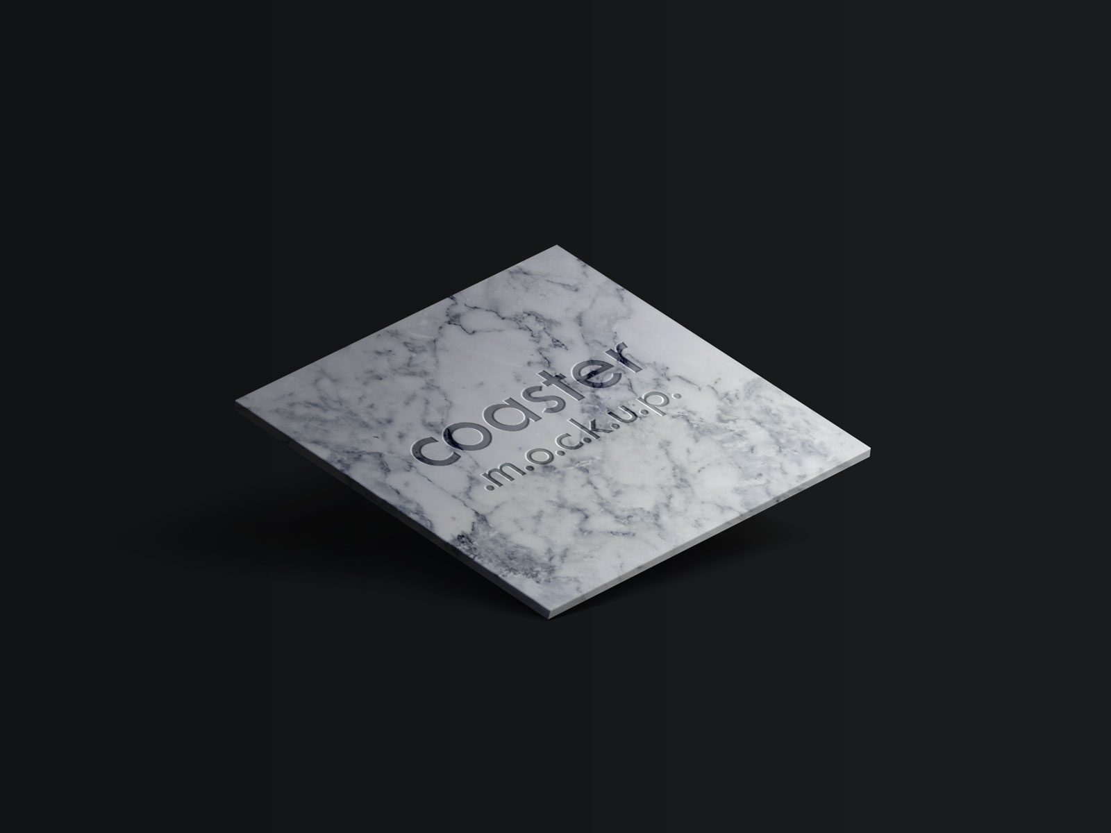 Free Square Coaster With Engraved Logo Mockup PSD