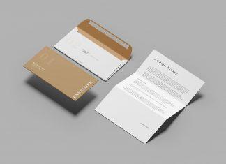 Free-A4-Envelope-&-Paper-Mockup-PSD
