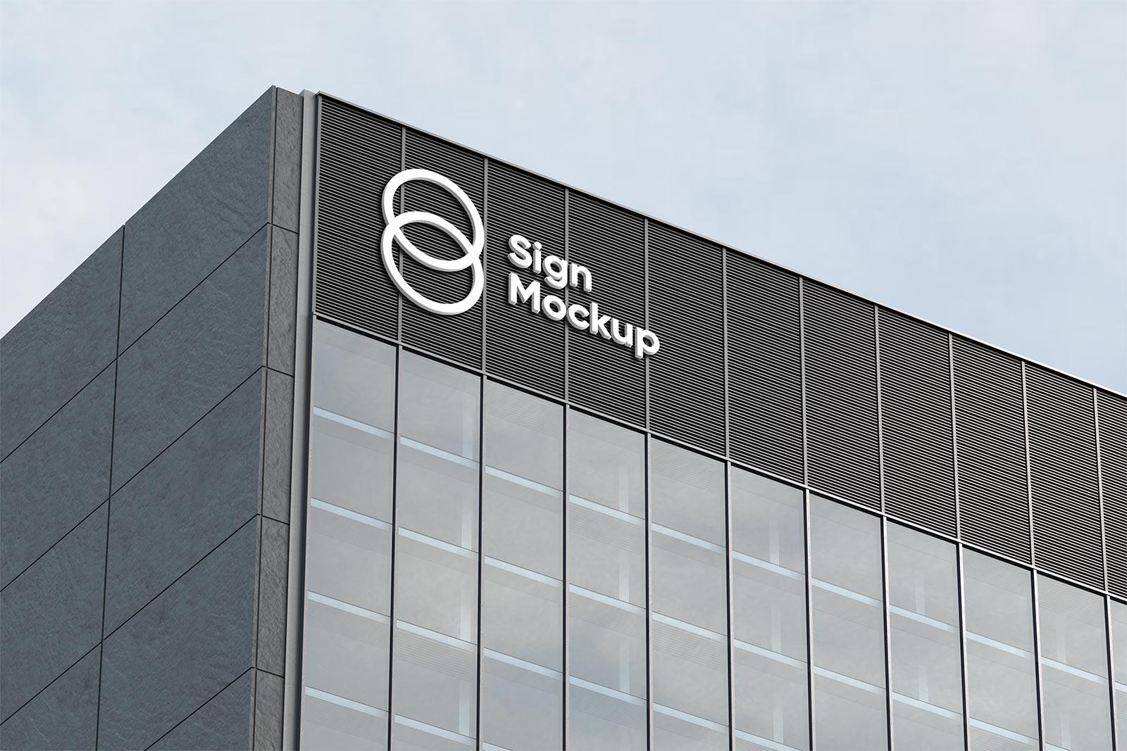 Free Building Sign Company Logo Mockup PSD