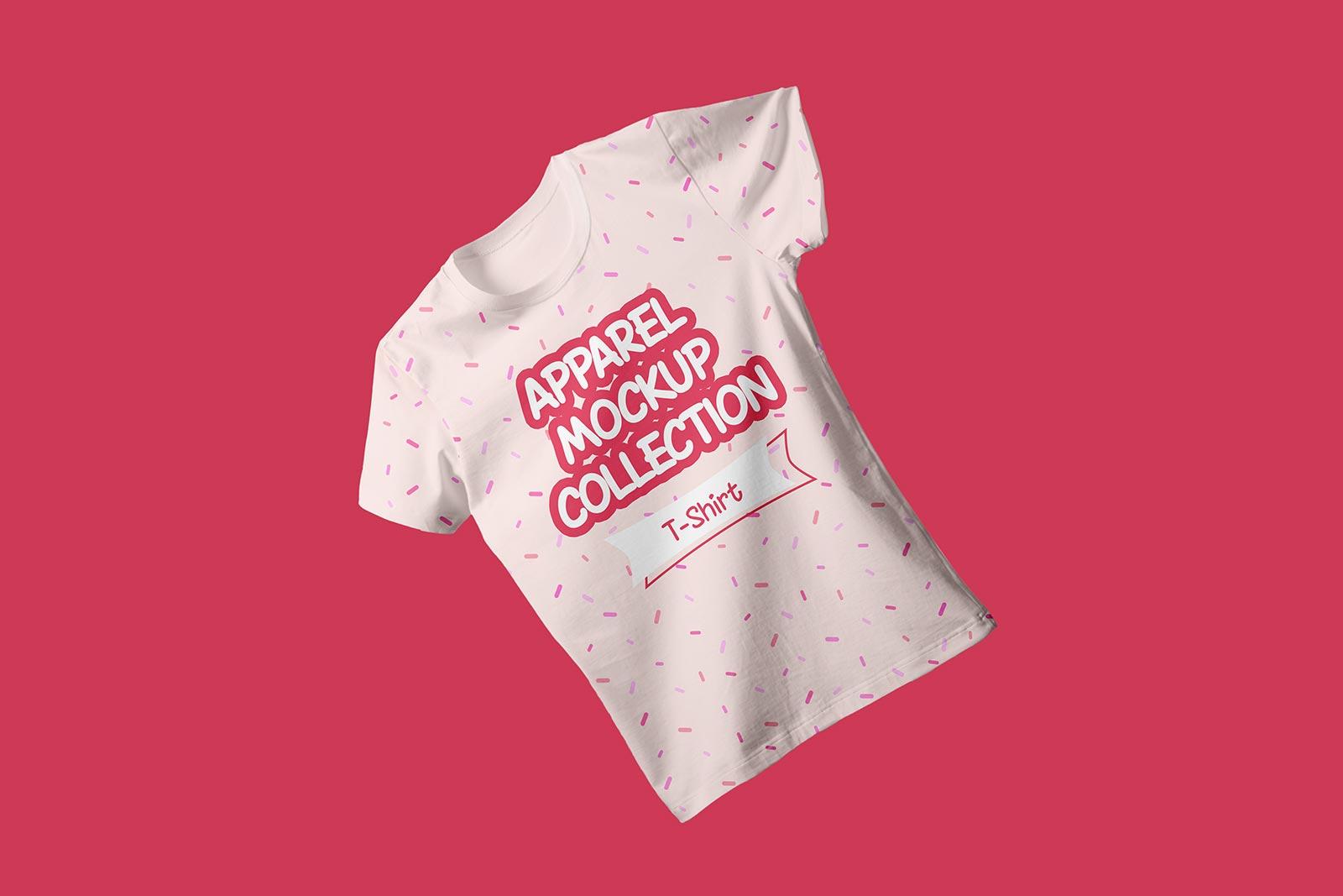 Free Floating Half sleeves T-shirt Mockup PSD