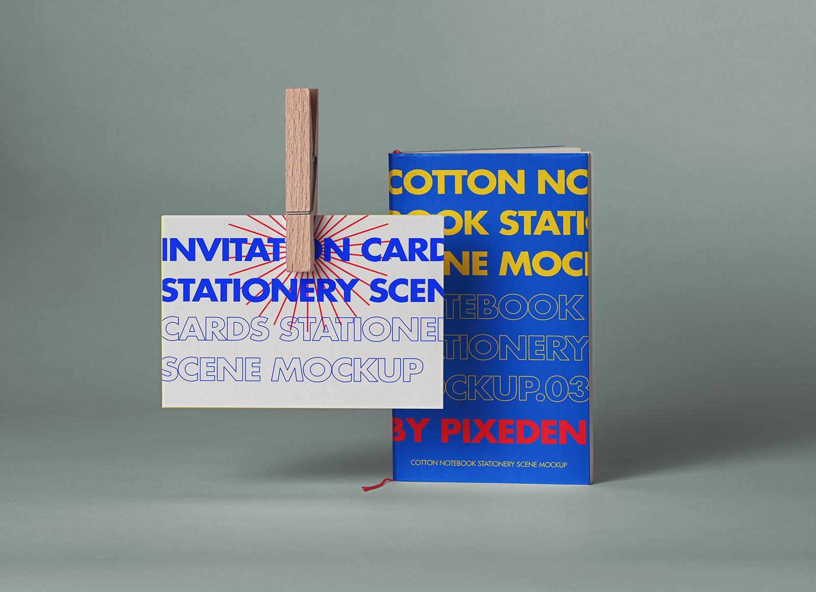 Free-Invitation-Card-&-Cotton-Notebook-Mockup-PSD