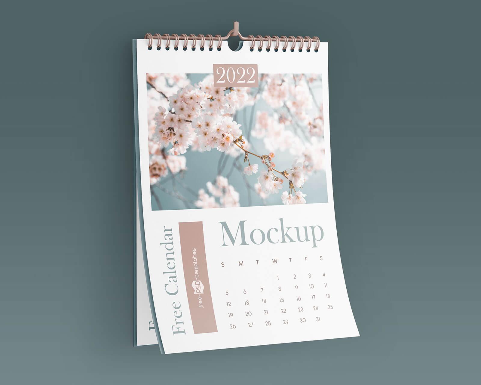 Free Portrait Wall Calendar 2022 Mockup PSD