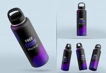 Free Reusable Aluminum Metallic Water Bottle Mockup PSD Set