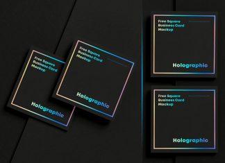 Free Square Black Business Card Mockup PSD Set