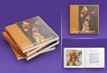 Free Square Perfect Bound Catalogue Mockup PSD Set
