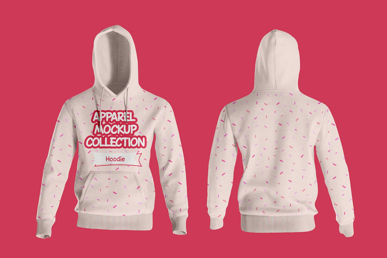 Free front back full sleeves hoodie T-shirt Mockup PSD
