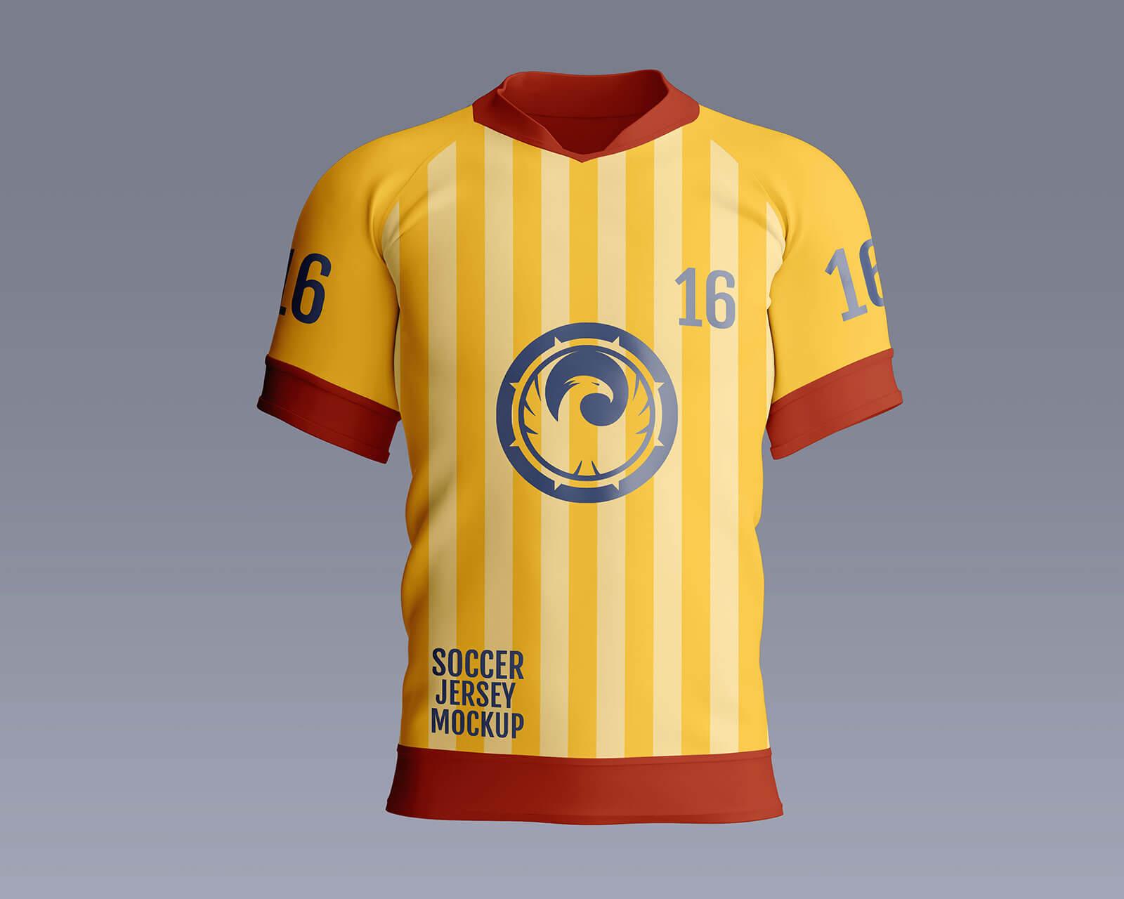 3 Free Half Sleeves Soccer Jersey Mockup PSD Set