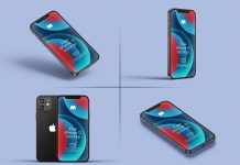 3D Rendered 5 Free iPhone 12 Mockup PSD Set