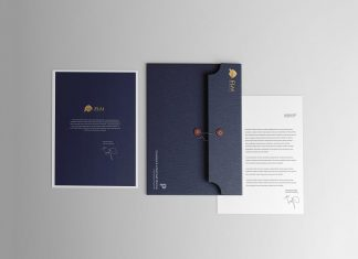 Free String Envelope With Letterhead Mockup PSD
