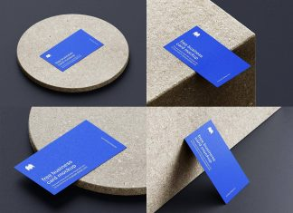 Free 3.5 x 2 Inches Business Card Mockup PSD Set (6)