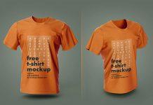 Free 3D Half Sleeves T-Shirt Mockup PSD