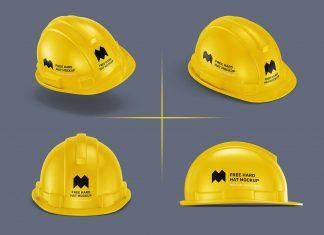 Free 4 Hard Safety Helmet Mockup PSD Set