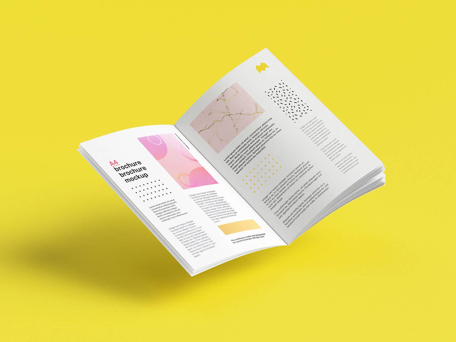 Free A4 Multipage Book Brochure Mockup PSD Set