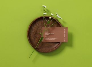 Free-Business-Card-With-Flower-Mockup-PSD