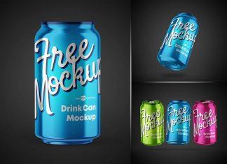 Free Drink Can Mockup PSD Set