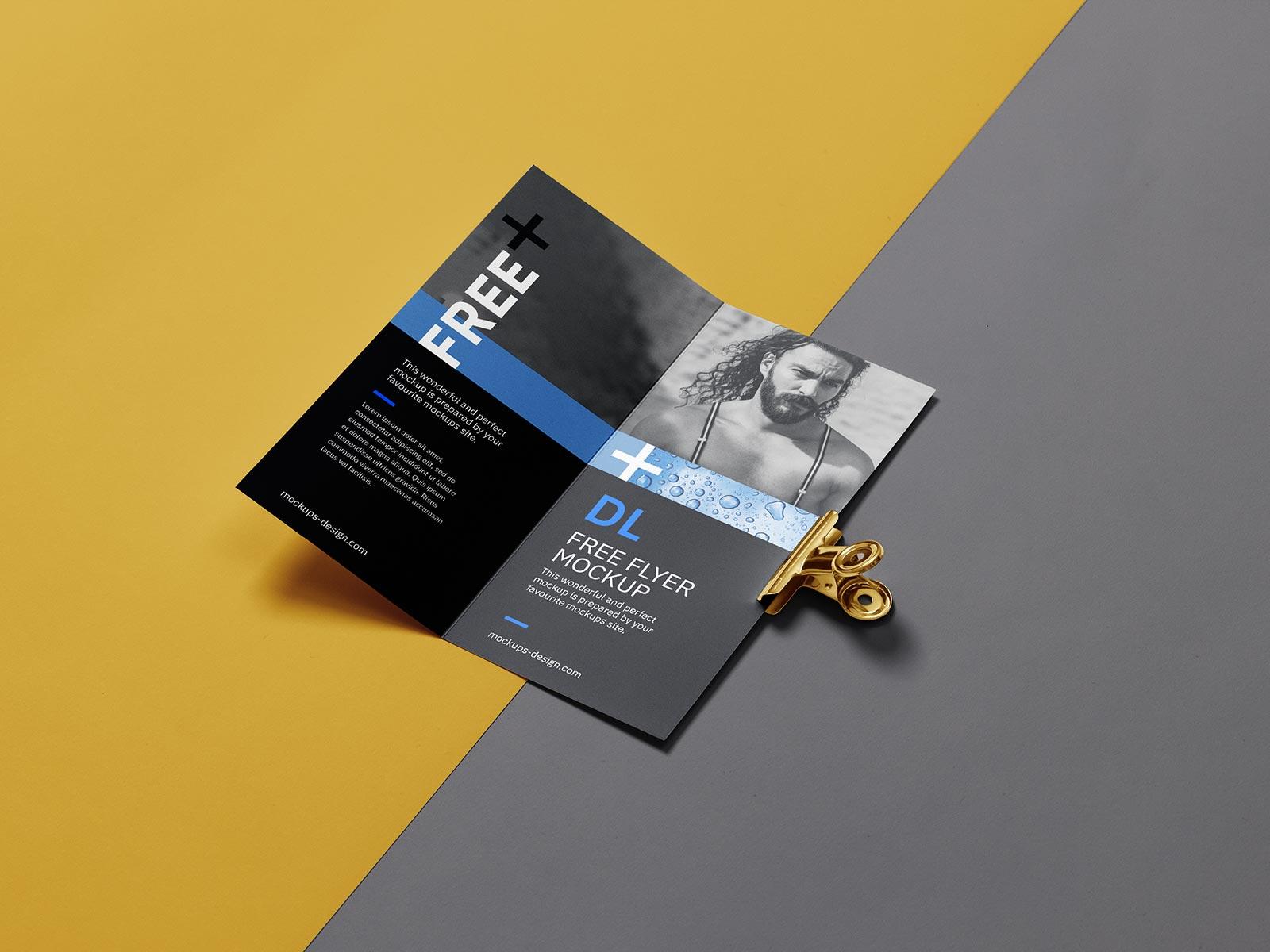 Free Front Back Bi-Fold Brochure Mockup PSD Set (1)
