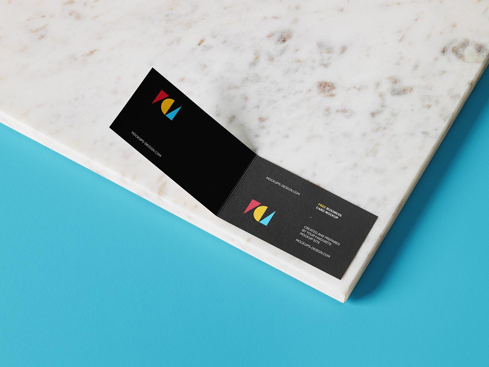 Free Horizontal Folded Business Card Mockup PSD Set