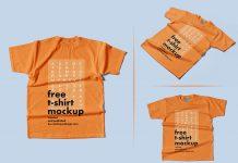 Free On Floor Flat T-Shirt Mockup PSD Set