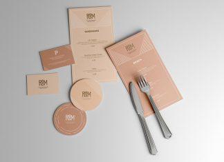Free Restaurant Branding Scene Menu With Coaster Mockup PSD