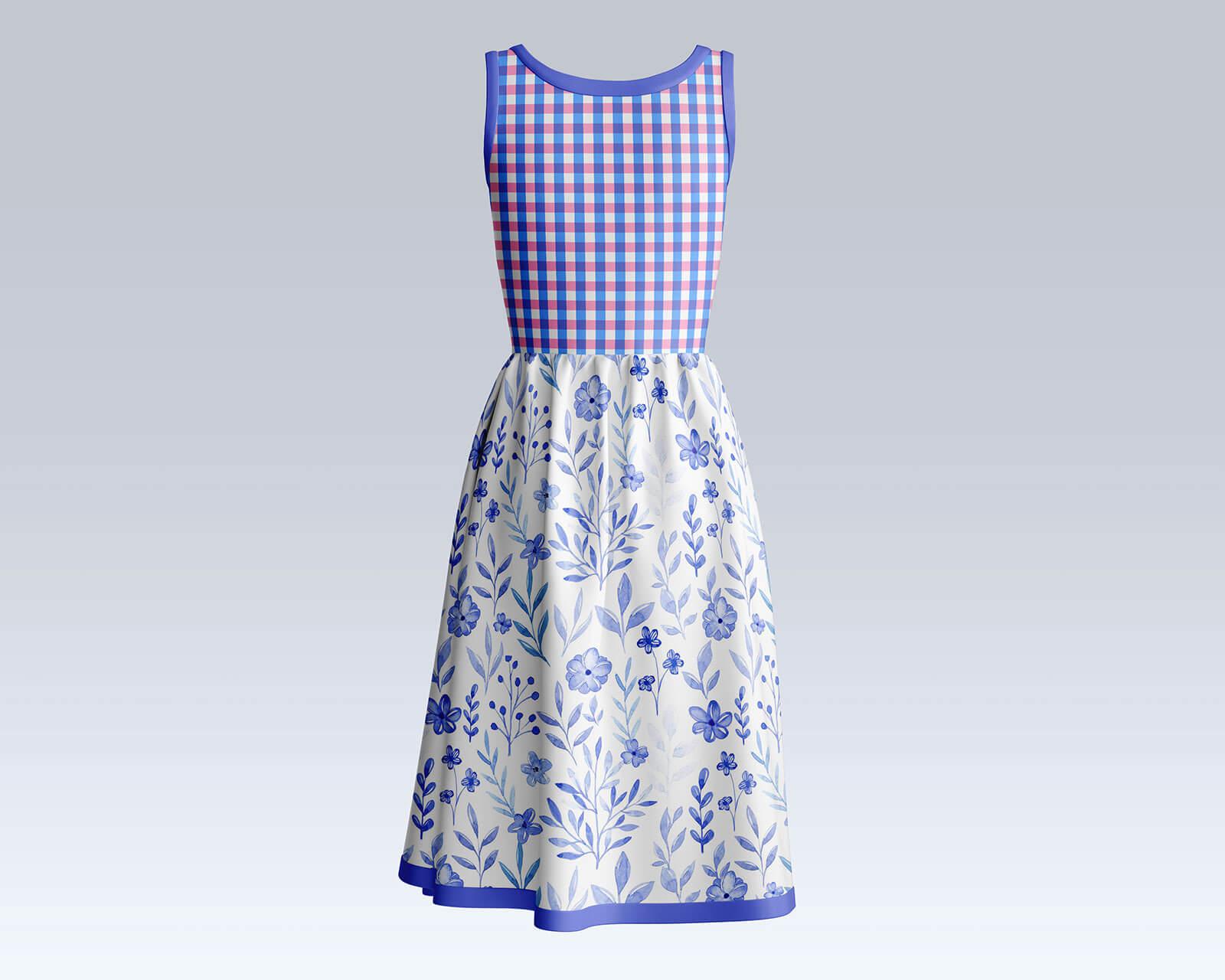 Free Sleeveless Women Summer Dress Mockup PSD Set (1)