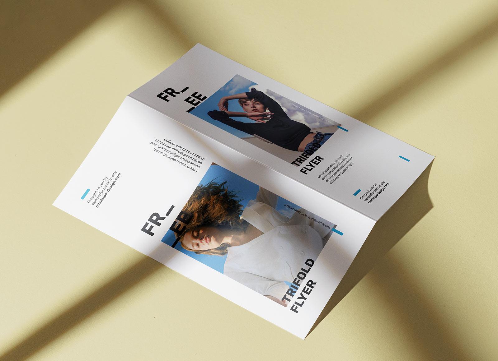 Free Sunny Bi-Fold DL brochure Mockup PSD