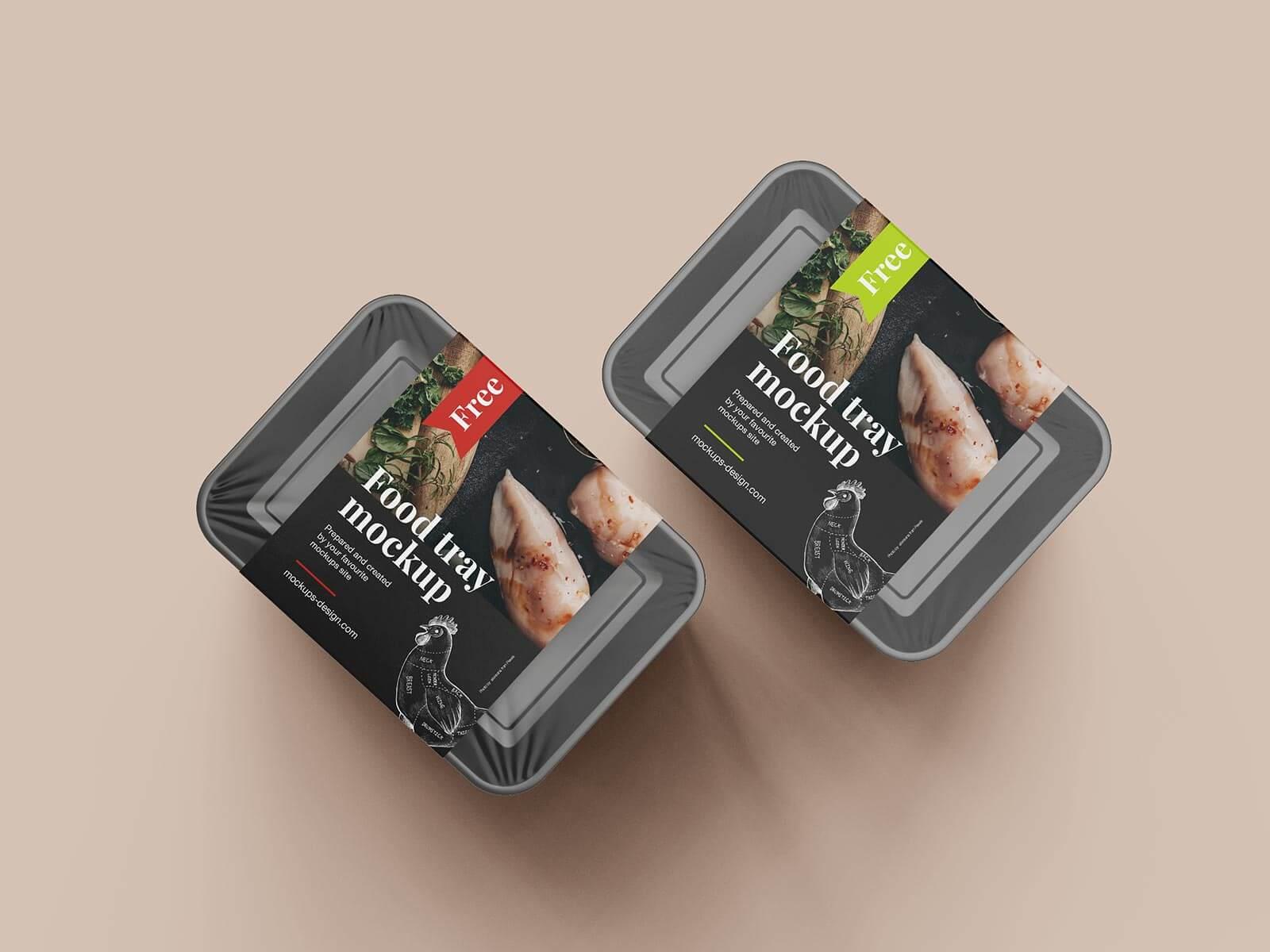 Free Vegetable Meat Food Tray Mockup PSD Set