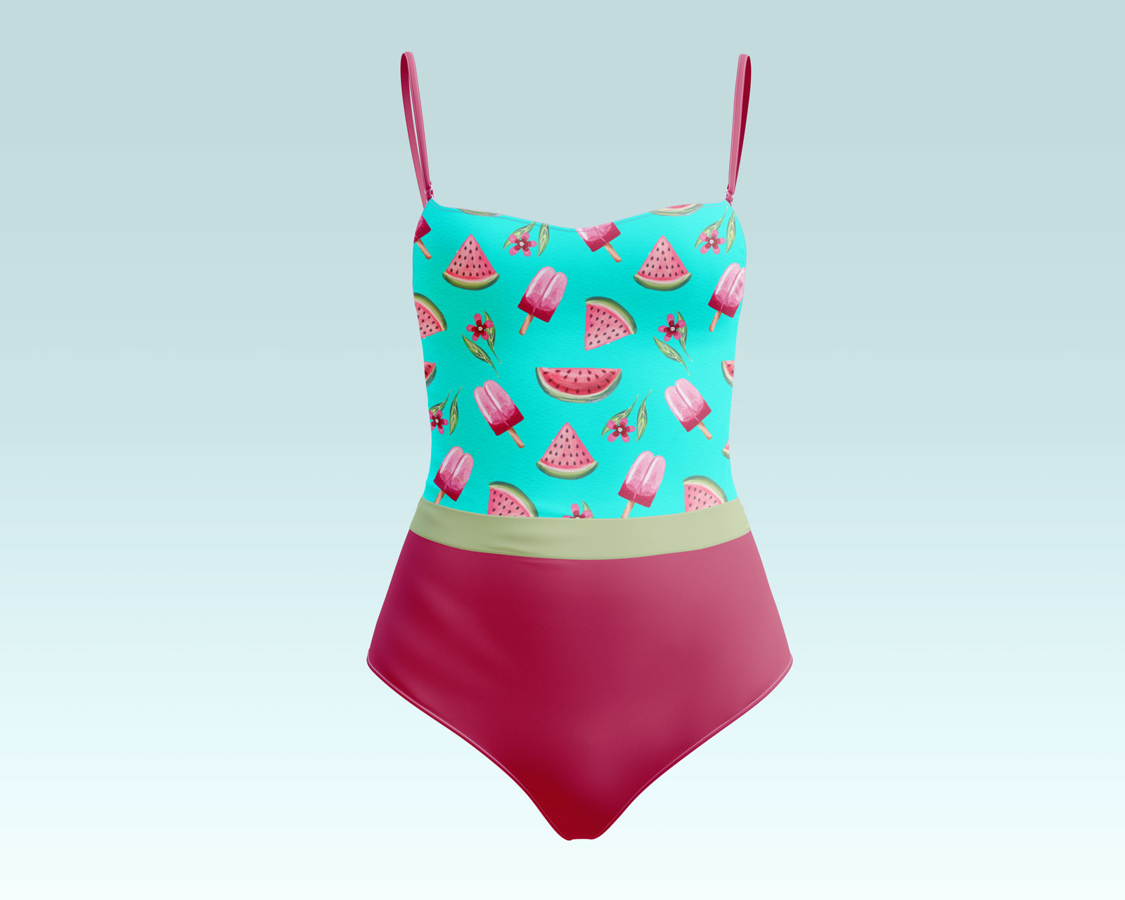 Free Women's One Piece Swimsuit Mockup PSD Set