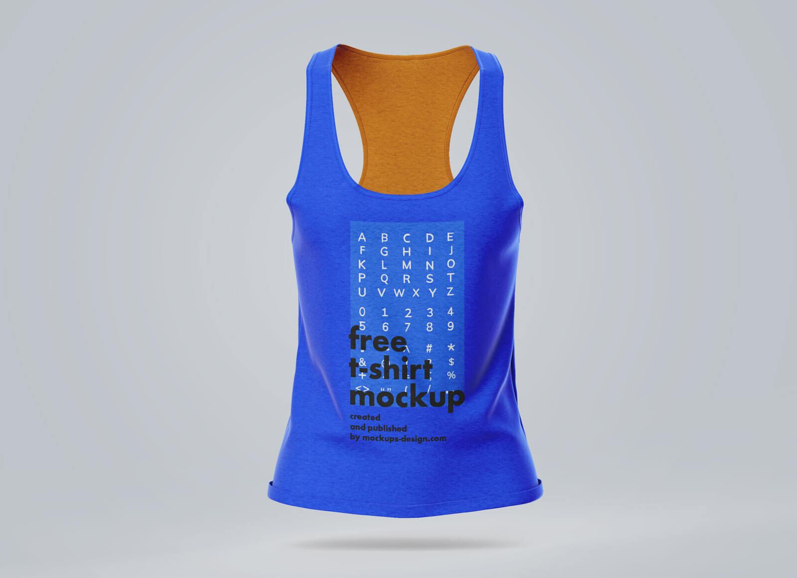 Free Women's Sleeveless T-Shirt Mockup PSD Set
