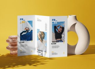 Free Standing Shadow Tri-fold Brochure Mockup PSD