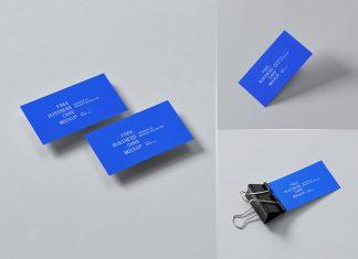 Free 90 x 50 mm Business Card Mockup PSD Set