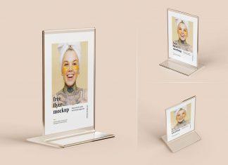Free Acrylic Single Flyer Stand Mockup PSD Set
