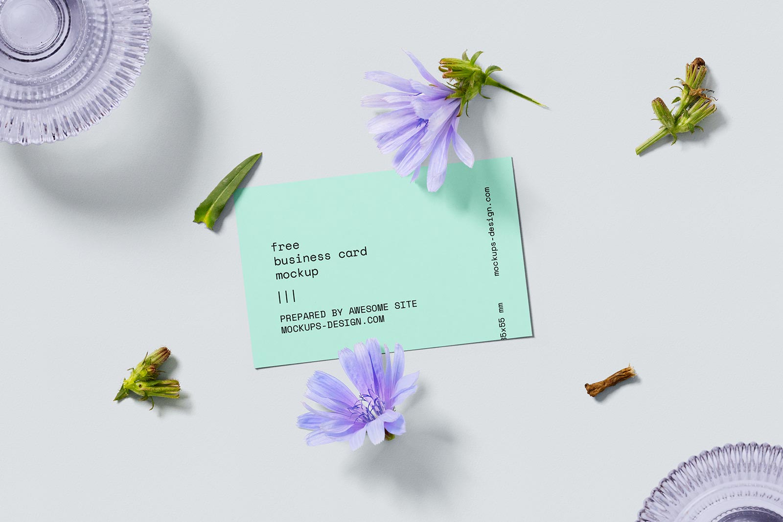 Free Business Card With Flower Mockup Set