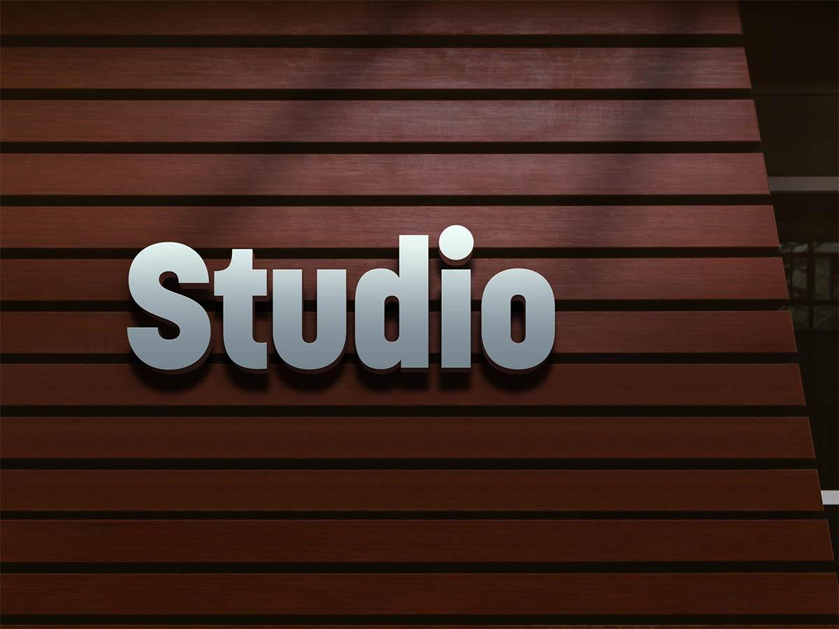 Free Studio 3D Logo Mockup PSD