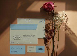 Free Envelope, Business Card & Ticket Mockup PSD