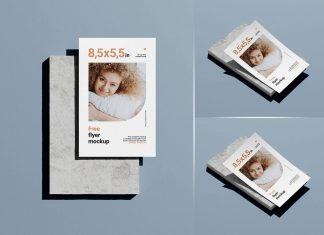 Free Half Letter Flyer Mockup PSD Set