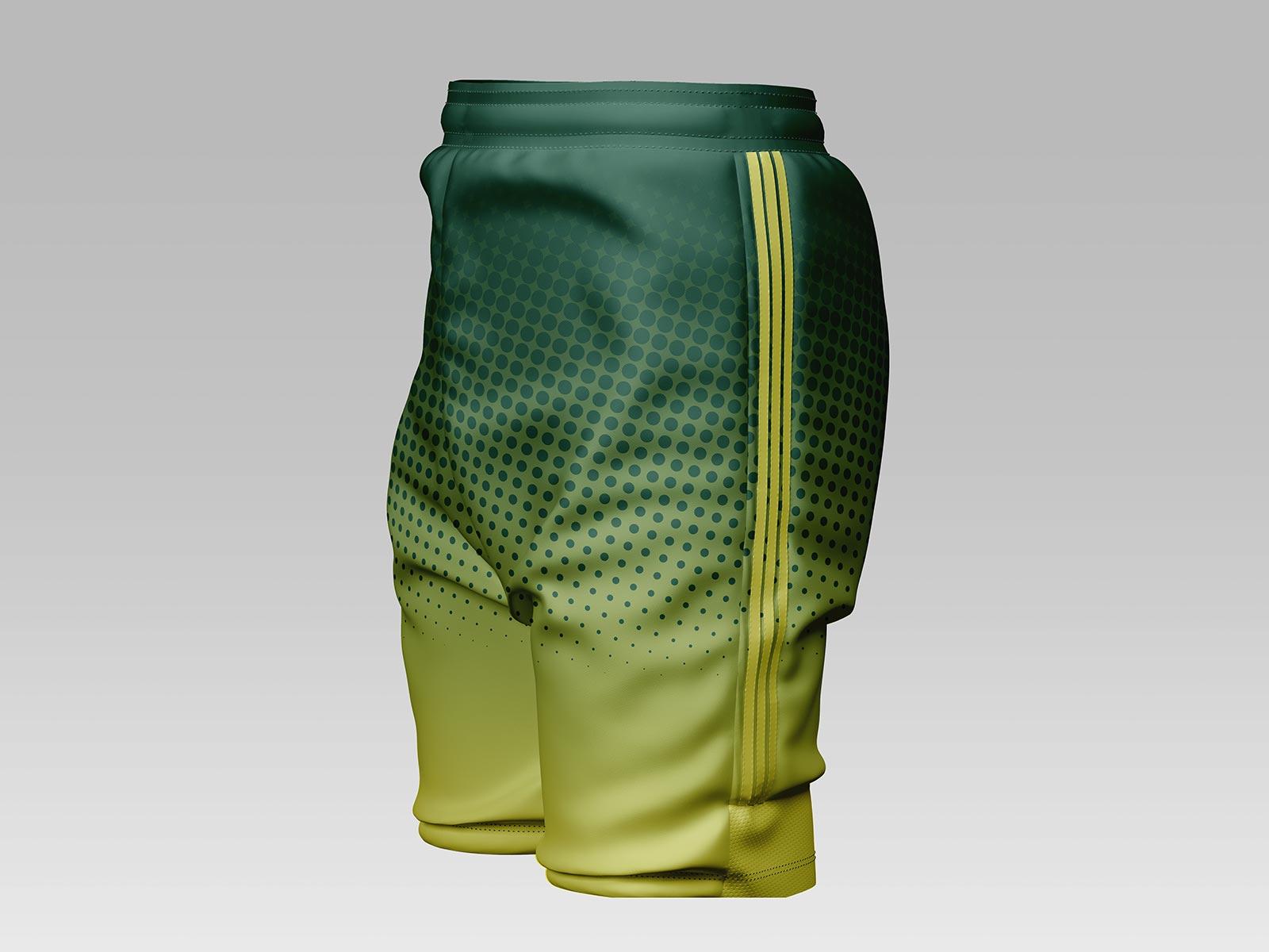 Free Men's Soccer Shorts Mockup PSD Set
