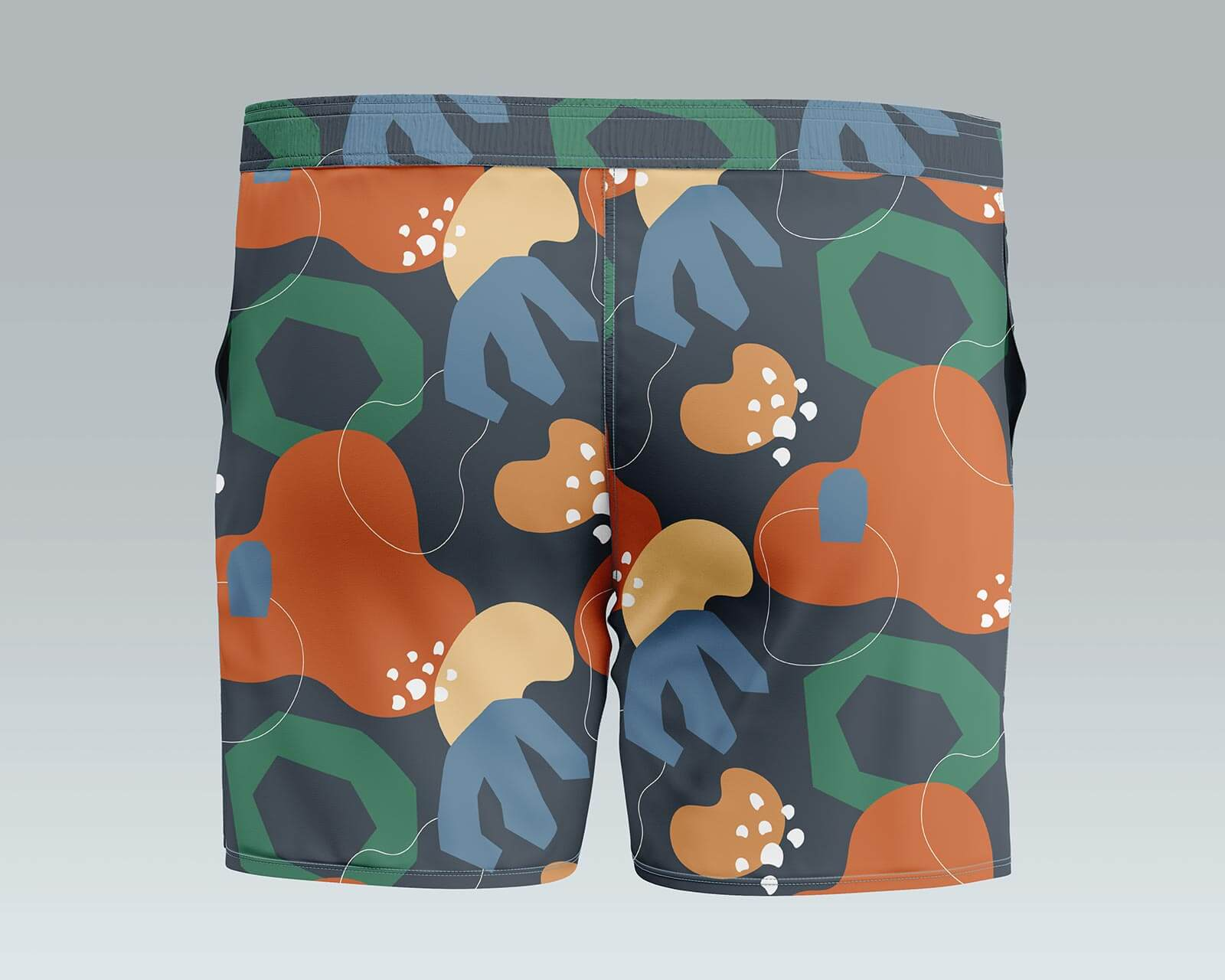 Free Men's Swim Trunks Mockup PSD Set