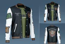 Free Men's Varsity Bomber Jacket Mockup PSD