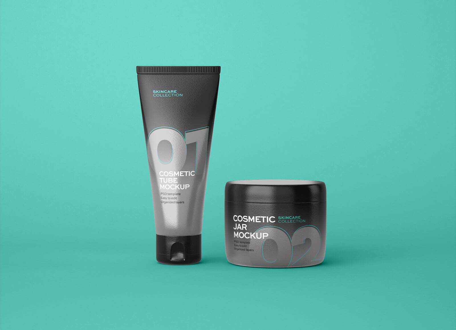 Free-Skincare-Cosmetic-Jar-&-Tube-Mockup-PSD
