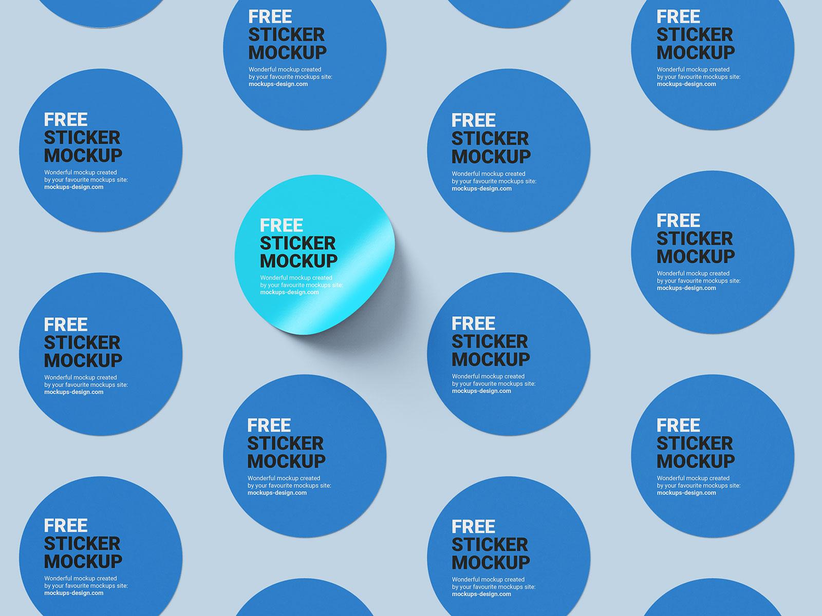 6 Free Round Sticker Mockup PSD Files