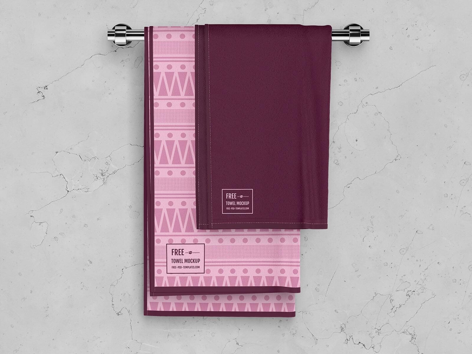 Free Bath Towel Mockup PSD Set