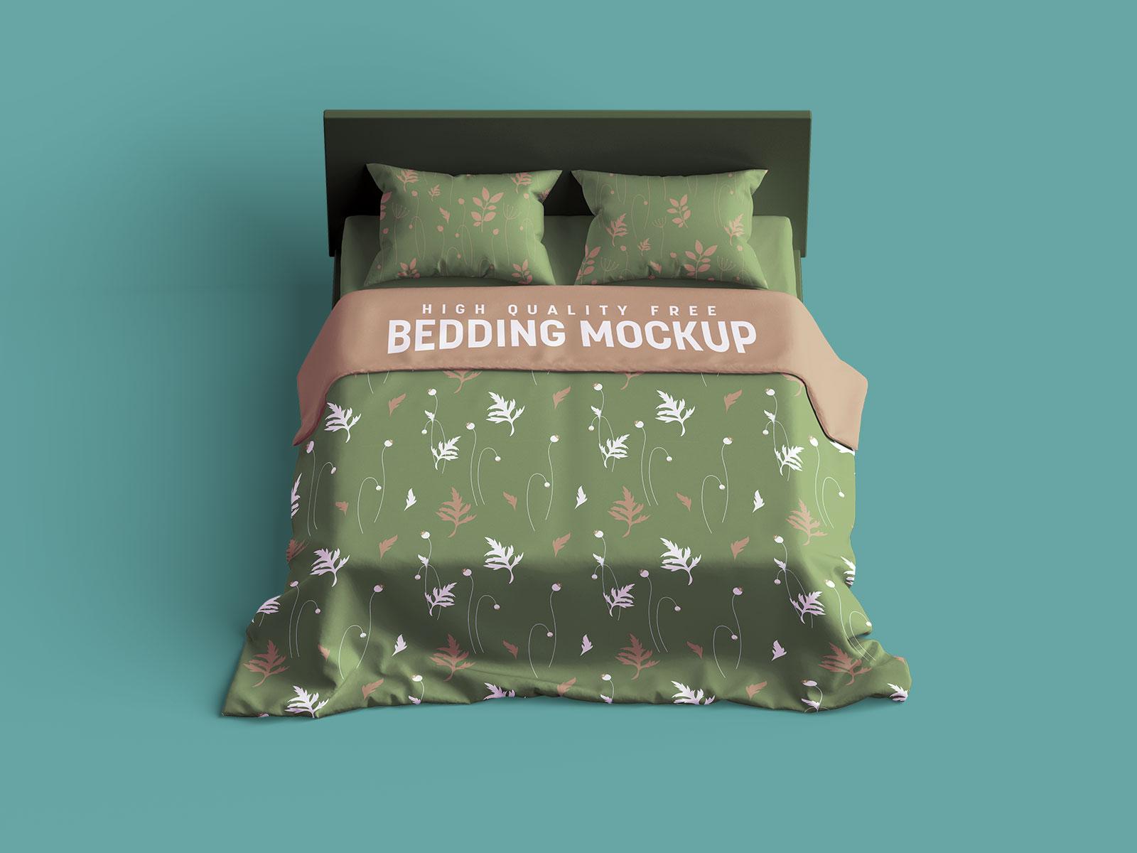 Free Bedding & Bed Linen Mockup PSD Set