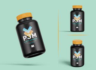 Free Black Plastic Jar For Medicine Mockup PSD Set