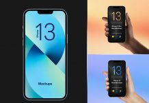 Free-Hand-Holding-iPhone-13-Pro-&-Solo-iPhone-13-Mockup-PSD-Set