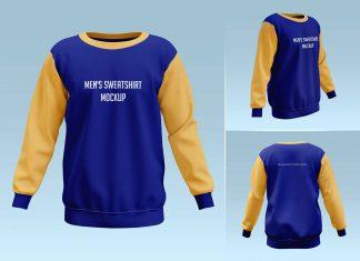 Free Men's Sweatshirt Mockup PSD Set