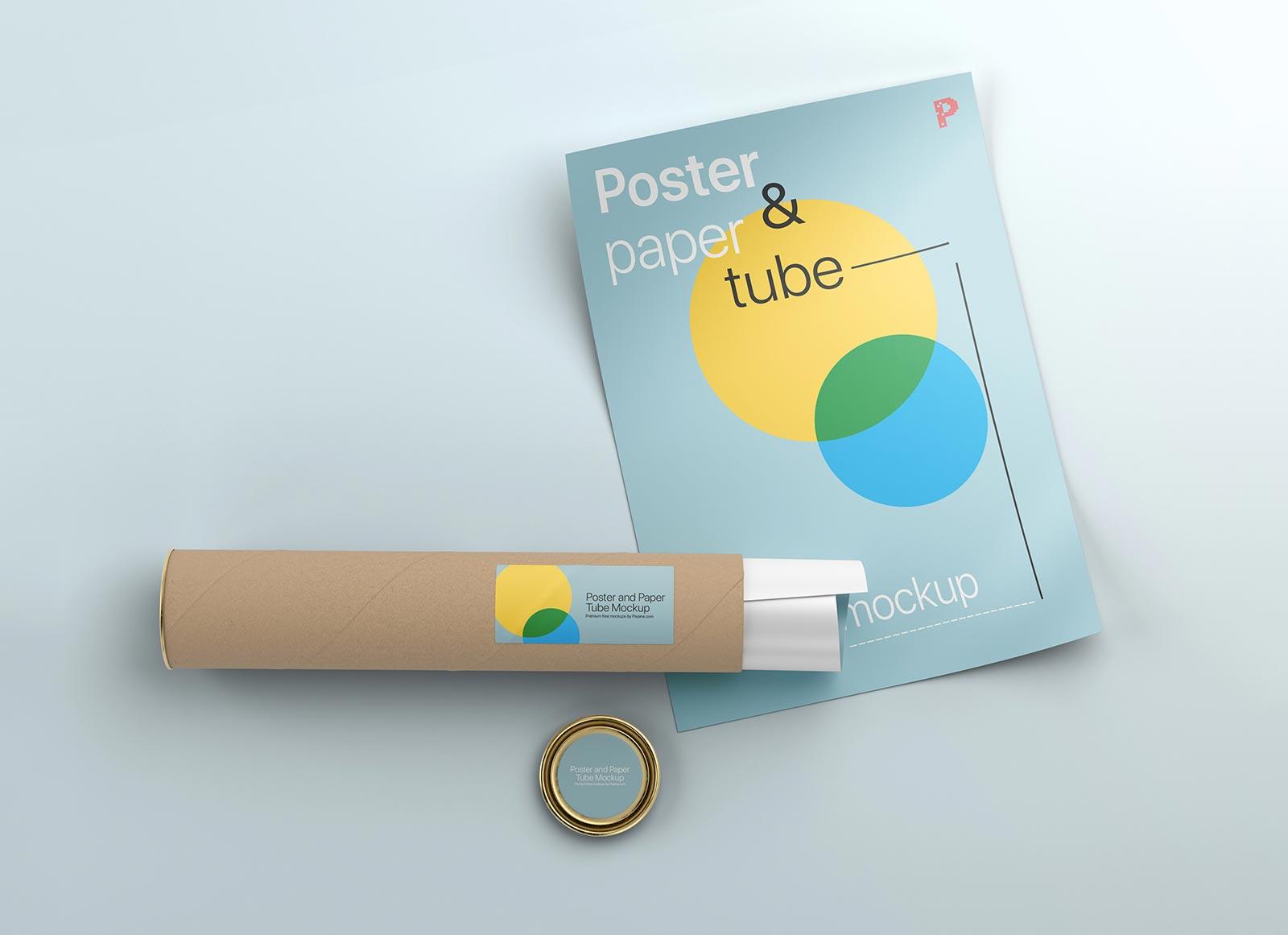 Free-Poster-&-Paper-Tube-Mockup-PSD