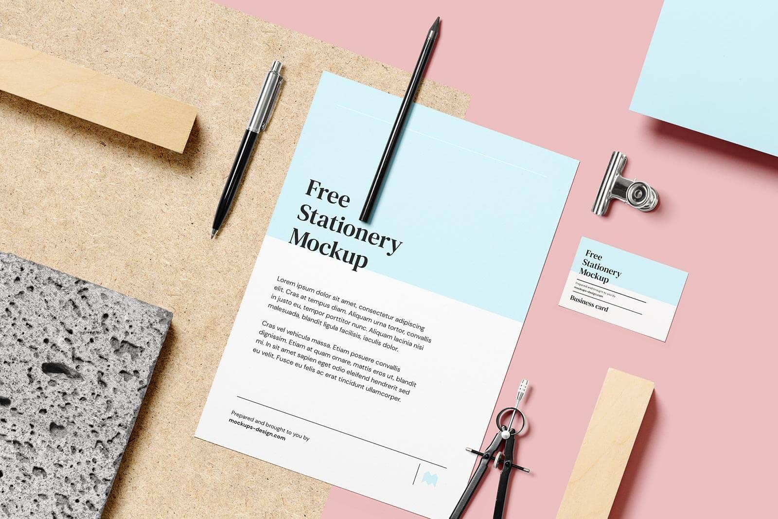 Free Simple Letterhead & Business Card Mockup PSD Set
