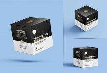 Free Square Box Packaging Mockup PSD Set